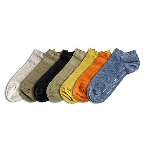 Camano Unisex Sneakersocken 000009102 7er-Pack Gummibund Baumwolle Elasthan Uni, Groesse 43-46, 4x grün/1x schwarz/1x creme/1x orange