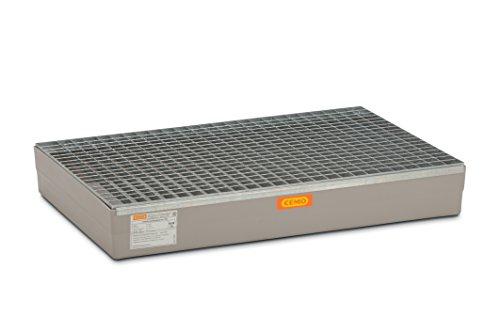 CEMO 7963 GFK-Auffangwanne mit verzinktem Gitterrost, grau, 150 L