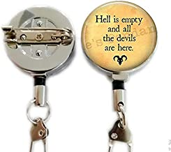 hakespeare Tempest Quote - Hell is Empty and All The Devils are here - Shakespeare,Retractable Badge Holder Carabiner Reel Clip On ID Card Holders