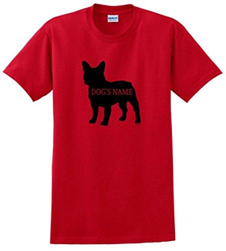 Personalized Dog Gifts Personalized French Bulldog Add Dog's Name Custom T-Shirt Medium Red