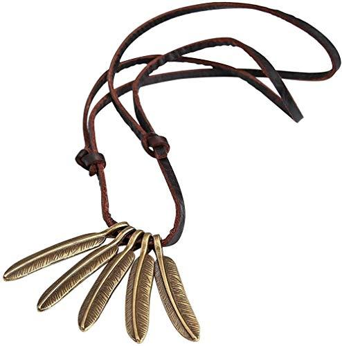 N/W Collar con Colgante para Hombre, Collar con Colgante Retro de Plumas de Cuero, Regalo, marrón