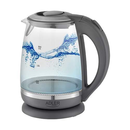 ADLER AD 1286 Wasserkocher aus Glas und Kunstoff, 2L, 2000 W, LED Beleuchtung, Glaswasserkocher für Tee, Kalkfilter, Automatische Abschaltung, Tauchsieder aus Edelstahl, grau
