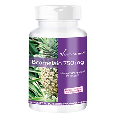 Bromelina 750mg – 180 cápsulas – Vegana – Dosis elevada – Enzima de la piña