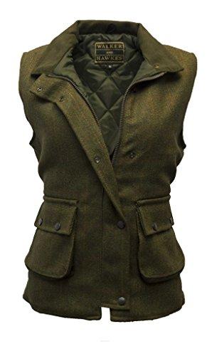 Walker and Hawkes Damen Country-Weste aus Tweed - für die Jagd geeignet - Dunkles Salbeigrün - Größen 34 bis 50
