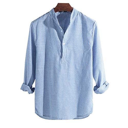 Camisas HombreCamisaMasculinaPrimavera Verano Camisa Casual para Hombres Algodón Manga Larga A Rayas Slim Fit Camisas con Cuello Alto S-5XL