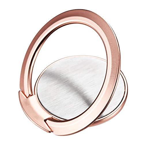 Eiyeckn Soporte para anillo de teléfono, ultra delgado de rotación de 360 ° compatible con soporte magnético de coche para iPhone Samsung Galaxy (oro rosa)