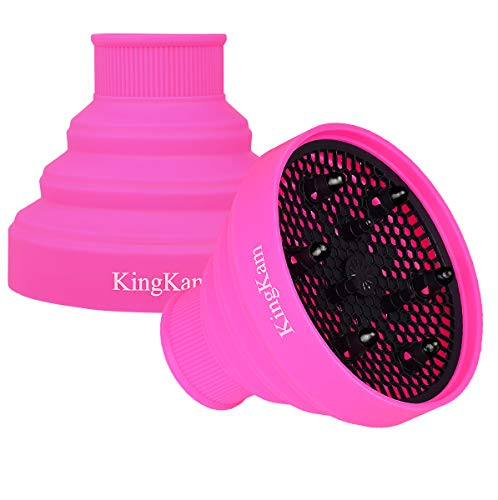 Collapsible Silicone Hair Dryer Diffuser - Travel and Easy Storage - Fit Nozzle Diameter D-1.575Inch to 1.968 Inch (4-5cm) KingKam-Pink
