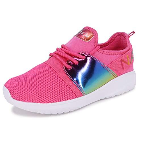 Nautica Missy Youth Girls Athletic Fashion Cross Trainer Lace Up Running Sneakers-Kappil Metallic-Iridescent Fuchsia Rainbow-1