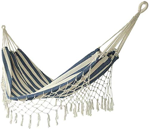 Hamaca de camping lona de algodón exterior / interior, hamaca de rama franja con cuerda y bolsa de árbol, con capacidad de carga de 330 libras, para mochileros, viajes, playa, camping, senderismo, pes
