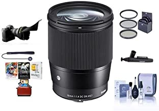 Sigma 16mm f/1.4 DC DN Contemporary Lens for Sony E-Mount Cameras, Black - Bundle with 67mm Filter Kit, Flex Lens Shade, Cleaning Kit, Capleash II, Lenspen Lens Cleaner, PC Software Package
