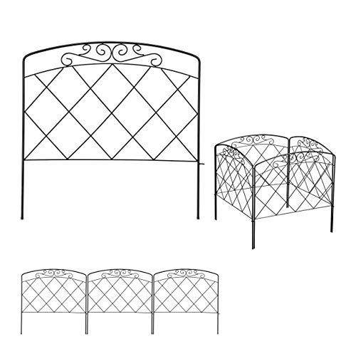 Relaxdays Beetzaun, 4-teilige Beetumrandung für Garten, Dekozaun Metall, antikes Design, HxB: 41,5 x 245 cm, schwarz