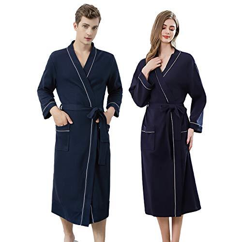 Jixin4you Albornoz de algodón de punto, kimono largo, con bolsillos para hombres y mujeres, spa y piscina de hotel