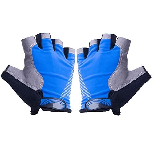 Halve Vinger Fietsen Handschoen Ijs Zijde Vingerloze Handschoen Palm Weg Fiets Gym Handschoen 1pair Blauw