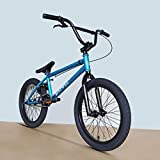 Bicicleta BMX de 18 Pulgadas - para Adolescentes en Bicicleta de Acrobacias a Nivel de Entrada, Bicicleta de la Calle acrobática de Lujo, Marco de Acero al Carbono de Alta Resistencia (Blue)