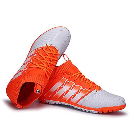 FJUAN Männer athletische Hightop Klampen Fußball-Schuhe Fußball-Team-Rasen-Fußball-Schuhe Klampen Hightop Socken Ankle Pflegeleistung (Kleinkind/Kleinkind/Big Kid),Orange,43