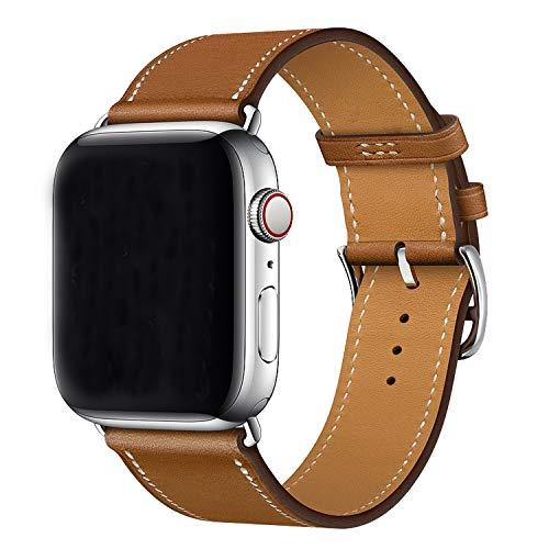 XCool Compatibile Cinturino Apple Watch 44mm 42mm, Pelle Marrone per Donna Uomo per iwatch SE Serie 6 Serie 5 Serie 4 Serie 3