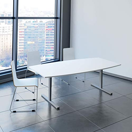 Weber Büroleben GmbH Easy Konferenztisch Bootsform 200x100 cm Weiß Besprechungstisch Tisch, Gestellfarbe:Silber