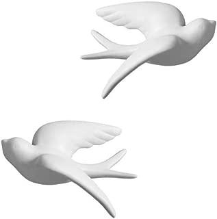 Dorlotou Pair Ceramic Sparrows Swallows Birds White Wall Decor Hanging for Bathroom Livingroom Garden Wall Sculptures, Small