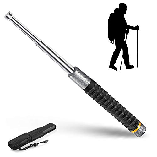 Retractable 21in Defense stick, Mini Extendable Steel Trekking Pole, Outdoor Defender for Mountaineering Hiking,Silver