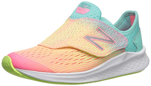 New Balance Girls' Hook and Loop Fresh Foam Fast Running Shoe, Bleached Guava with Bleached Lime Glo & Light Tidepool, 1 W US Little Kid