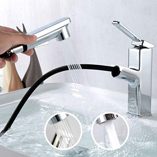 KAPHOME Bathroom Sink Faucet with 2 Mode Pull Out Sprayer,Single Handle Basin Mixer Tap,Chrome