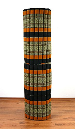 livasia XXL Kapok Rollmatte der Marke, 200cm (Länge) x 160cm (Breite) x 4,5cm (Höhe), Entspannungsmatte, Yogamatte, Rollmatratze, Gästematratze, Gästebett (Schwarz/Orange)
