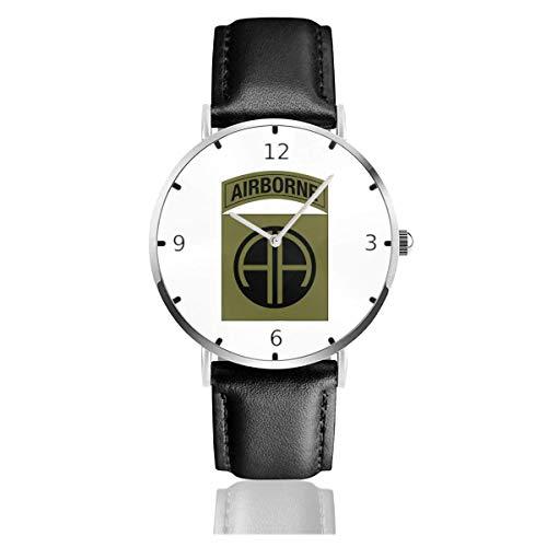 Men's Fashion Minimalist Wrist Watch Quartz Wrist Watch Army 82nd Airborne Division Leather Strap Watch