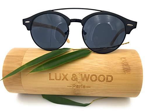 LUX & WOOD Paris – Gafas de sol de madera – Retro doble puente semicircular polarizadas – Hombre mujer – Cristales de policarbonato UV 400 – Funda rígida de bambú
