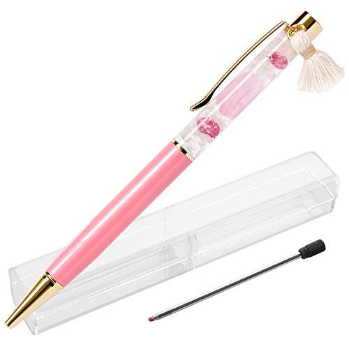 花まりか 母の日 ギフト 桜ハーバリウムボールペン プレゼント 0.5mm替え芯 ギフトボックス 付き ボールペン (ピンク)