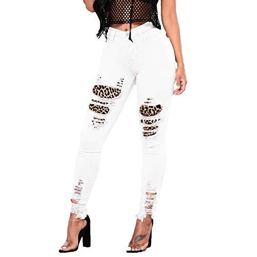 Xmiral Zerrissene Jeans Damen Leopard Spleißen Patch Hohe Taille Jeanshose Slim Bleistifthose(Weiß,L)