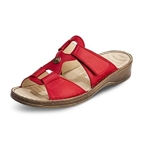 VITAFORM® Damen Pantolette Sandale Echt Nappaleder Mit Reflexzonenfußbett – Spezielle Dämpfung Zur Gelenkschonung (Rot, Numeric_35)