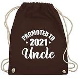 Shirtracer Bruder & Onkel - Promoted to uncle 2021 simpel - weiß - Unisize - Braun - Geschenk -...
