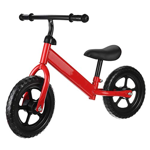 QHY 12 Pulgadas Bebé Bicicleta De Equilibrio Caminante Niños Paseo En Juguete para 2-6 Años Antiguo Niños para Aprendizaje Caminar Dos Rueda Scooter No Pie Pedal (Color : Red)