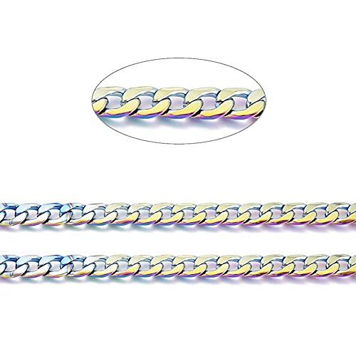Cheriswelry Cadena cubana de acero inoxidable de 32,8 pies, 7 mm de ancho, chapada en arco iris, para hacer collares gruesos, pulseras para hombres y mujeres
