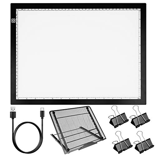 HIRALIY Diamond Painting Light Pad Kit with Large Metal Stand, A3s LED Tracing Board Dimmable Drawing Light Box with Fasten Clips for Easy Vinyl Weeding, Crafting, Drawing