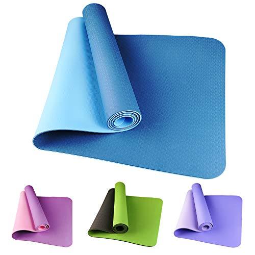 Etmury Yogamatte rutschfest Schadstofffrei Fitness Yogamatte Zweifarbige TPE Yogamatte Dünn Reise