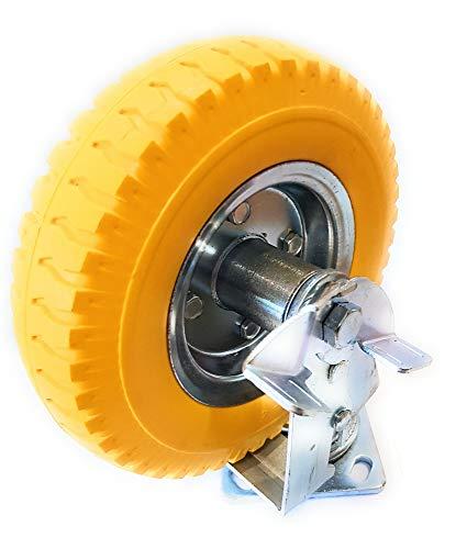 Ruedas fijas giratorias + frenos, ruedas de transporte, ruedas de goma maciza, ruedas giratorias, ruedas de poliuretano, sin golpes, sin pinchazos