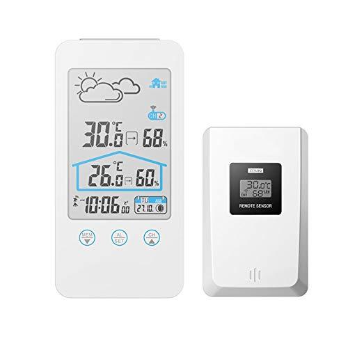 JALAL Digitale Wetterstation Wireless, Innen AußEn Hygrometer Thermometer Mit Kalender Komfortanzeige Wettervorhersage Hintergrundbeleuchtung AußEnsensor FüR Schlafzimmer Wohnzimmer BüRo Hause, White