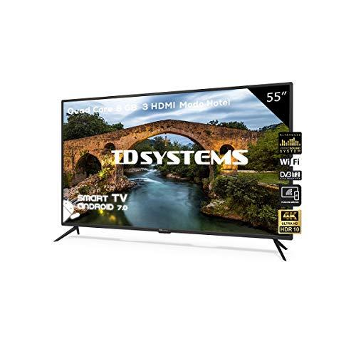 Televisor Led 55 Pulgadas Ultra HD 4K Smart, TD Systems K55DLX9US. Resolución 3840 x 2160, HDR10, 3X HDMI, VGA, 2X USB, Smart TV.