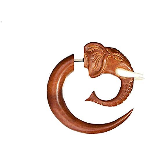 CHICNET Fake Body piercing elefante lóbulos de madera en espiral, marrón rojizo con cierre de acero inoxidable, incrustación de hueso, tallado a mano