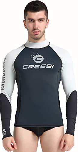 Cressi Hydro Mens Rash Guard Long Sleeves, Maglia Protettiva Sportiva Maniche Lunghe in Tessuto Elastico Uomo, Nero/Argento, L