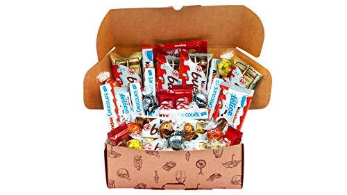Caja regalo de bombones y chocolates - Kinder Bueno, Kinder Delice, Mini KitKat, Lindt, Kinder Chocolate. Regalo original para cumpleaños, navidad y San Valentín