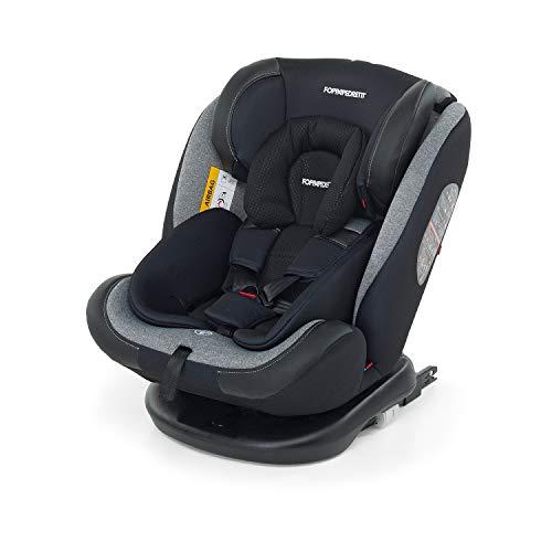 Foppapedretti Iturn duoFIX Seggiolino Auto Girevole 360°, Gruppo 0+/1/2/3 (0-36 kg), per bambini dalla Nascita a 12 Anni, Carbon
