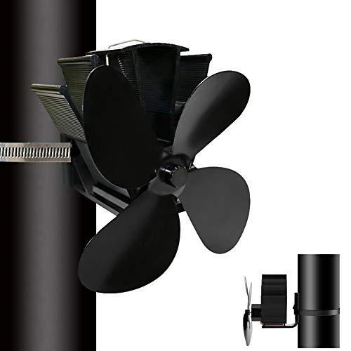 Ofenventilator mit 4 Flügelblättern, geräuschloser Betrieb, mit Ofenthermometer für Holz / Holzbrenner / Kamin, umweltfreundlich und effiziente Wärmeverteilung