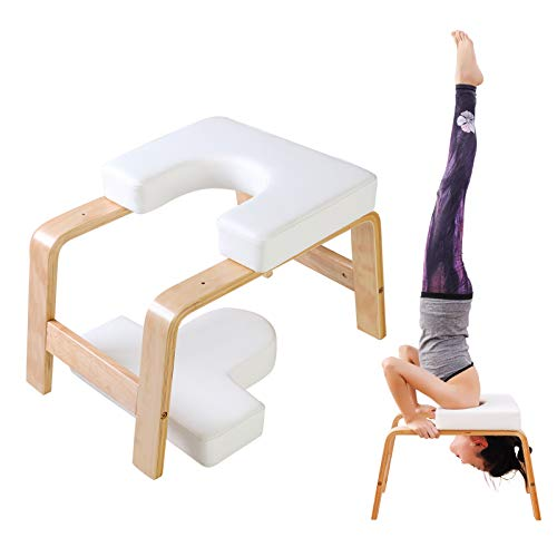 XgnoDeZ Yoga Headstand Bench, Inversion Chair Strength Training for Meditation Fitness Gym Workout Stool, White