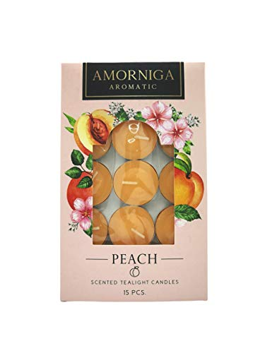 Amorniga Scented Tea Lights Candles, (Pack of 15) | Aromatherapy Candles, Candles for Home | Candle Warmer, Up to 4 Hour Burn Time, Natural Fragrances | (Peach)