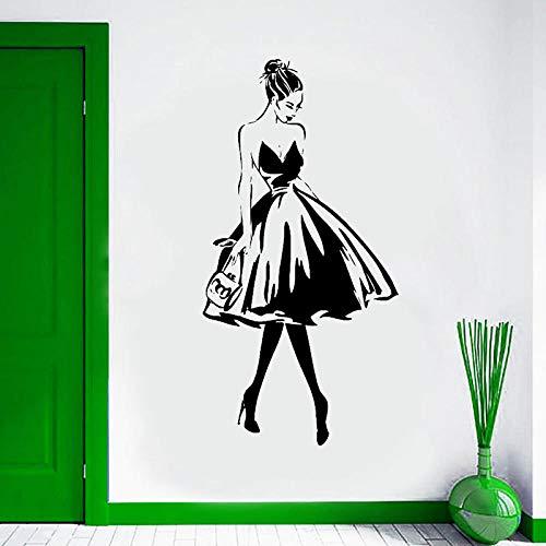 HOHHJFGG Cara de mujer estilo de moda etiqueta de la pared ropa boutique vestido diseño cartel de pared salón de belleza 57x112 cm