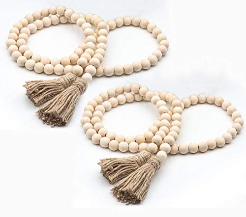 58In/pc Wood Bead Garland Rustic Tassels Farmhouse Beads for Farmhouse Wall Hanging Decor (2 Pack)