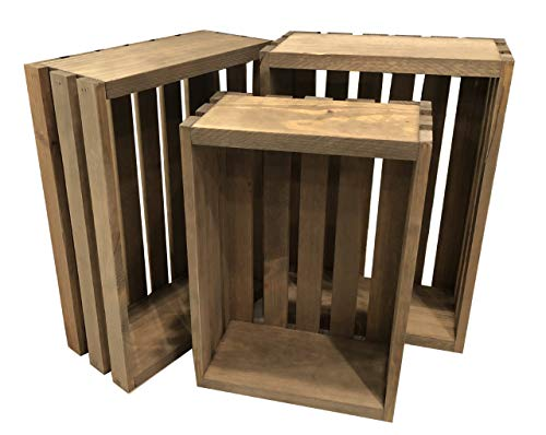 Rustic Vintage Wood Crates Set of 3 2 17 X12 X 6 1 15 X 10 X 51/2
