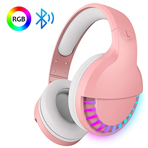 Wireless Bluetooth Headset Over Ear, Hi-Fi Stereo 5.1 channel , RGB LED Horse Race Backlit, 1000 mAh Rechargeable Lightweight Gaming Headset With Microphone, for PC/Ipad- Pink